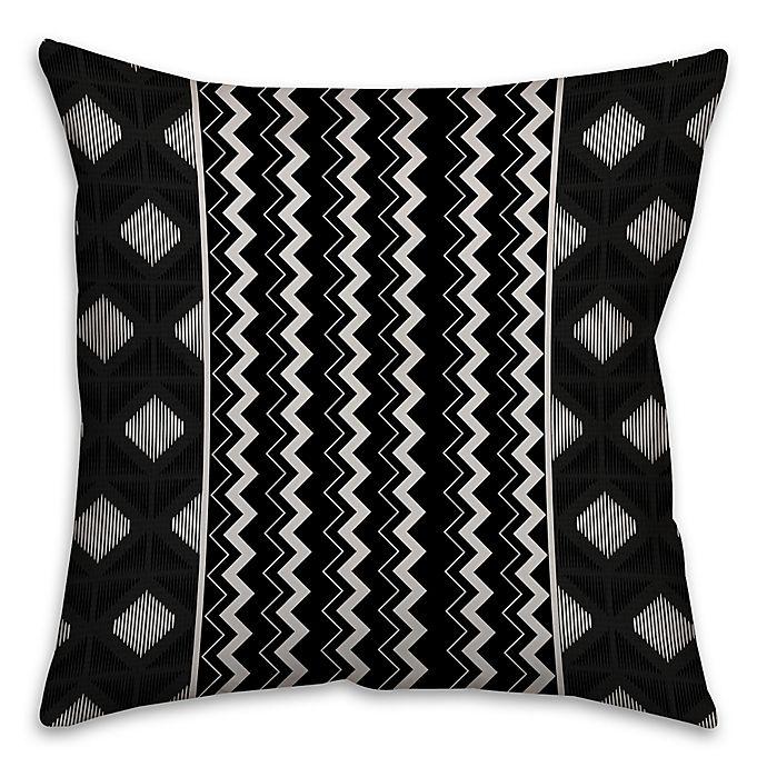 Alternate image 1 for Chevron and Diamonds Boho Tribal Square Throw Pillow in Black/White