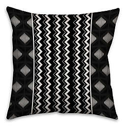 Chevron and Diamonds Boho Tribal Square Throw Pillow in Black/White