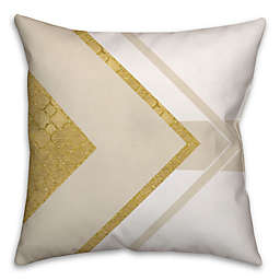 Layered Triangle Geometric Square Throw Pillow in Cream/Gold