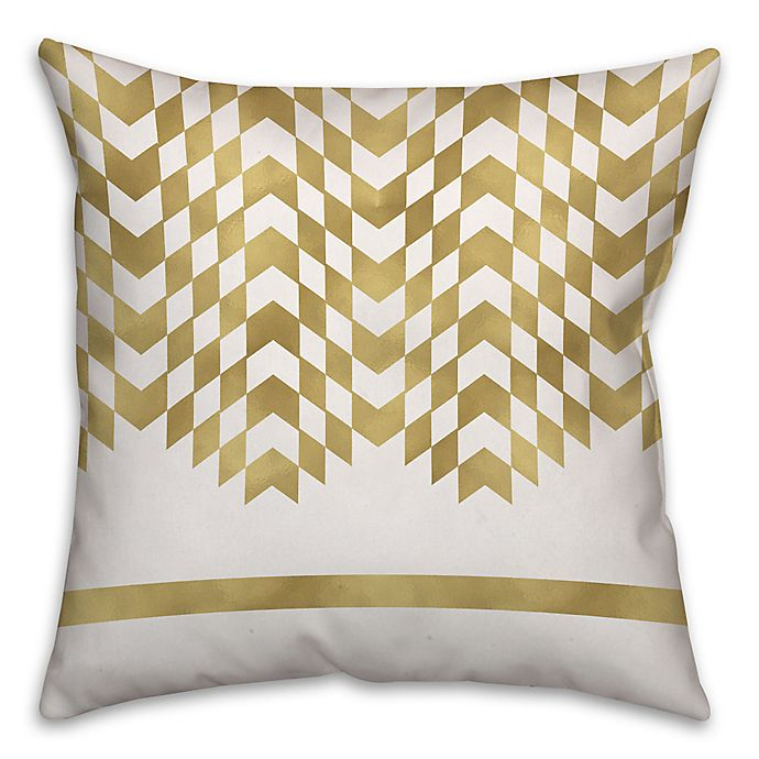 Alternate image 1 for Alternating Chevron Square Throw Pillow in Cream/Gold