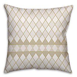 Diamond Pattern Square Throw Pillow in Cream/White