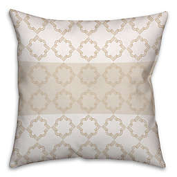 Quatrefoil Pattern Square Throw Pillow in Ivory/Beige