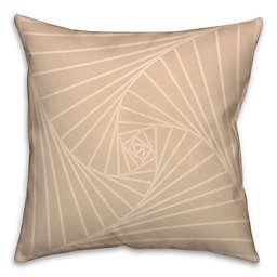 Zen Spiral Square Throw Pillow in Cream/White