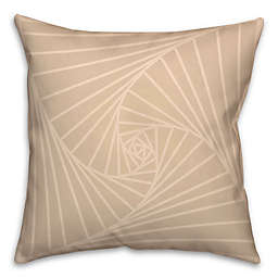 Zen Spiral Square Throw Pillow in Cream/White