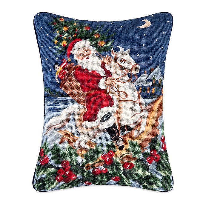 Alternate image 1 for Santa Riding a Horse Needlepoint Throw Pillow