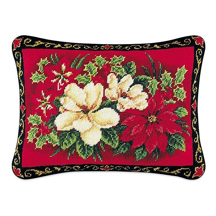 Alternate image 1 for Magnolias and Pointsettia Needlepoint Throw Pillow
