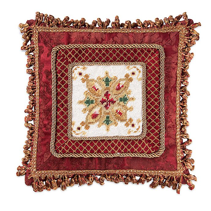 Alternate image 1 for Yuletide Needlepoint Square Throw Pillow