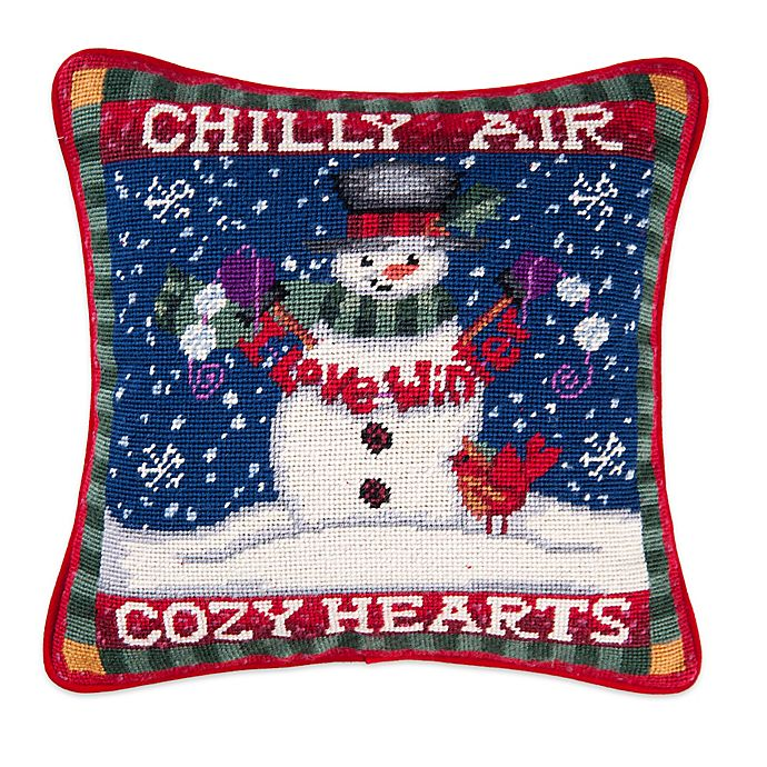 Alternate image 1 for Snowman in Chilly Air Needlepoint Throw Pillow