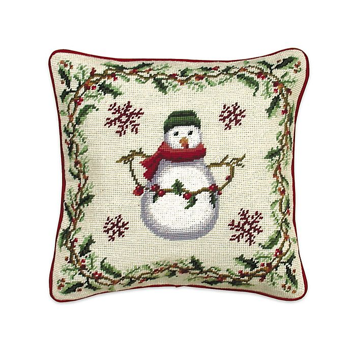 Cottage Christmas Snowman Square Throw Pillow Bed Bath