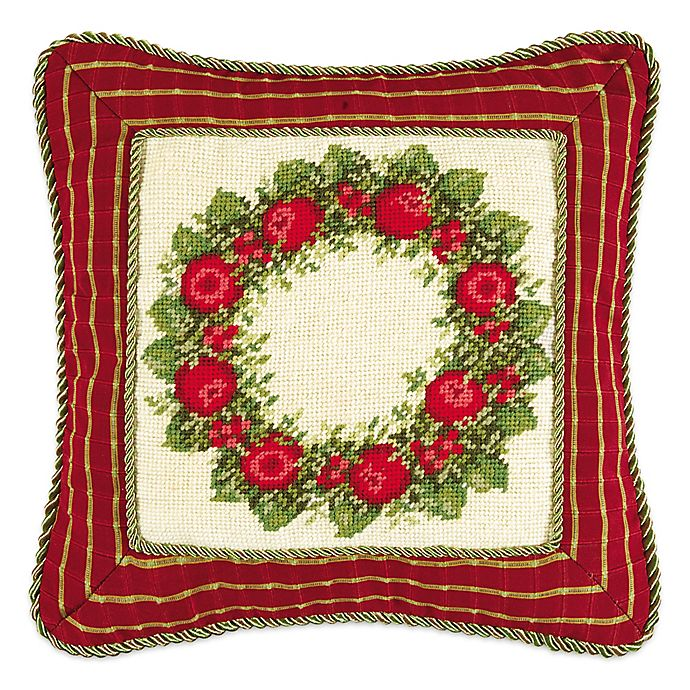 Apple Wreath Needlepoint Square Throw Pillow Bed Bath
