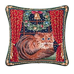 Window Seat Kitty Needlepoint Square Throw Pillow