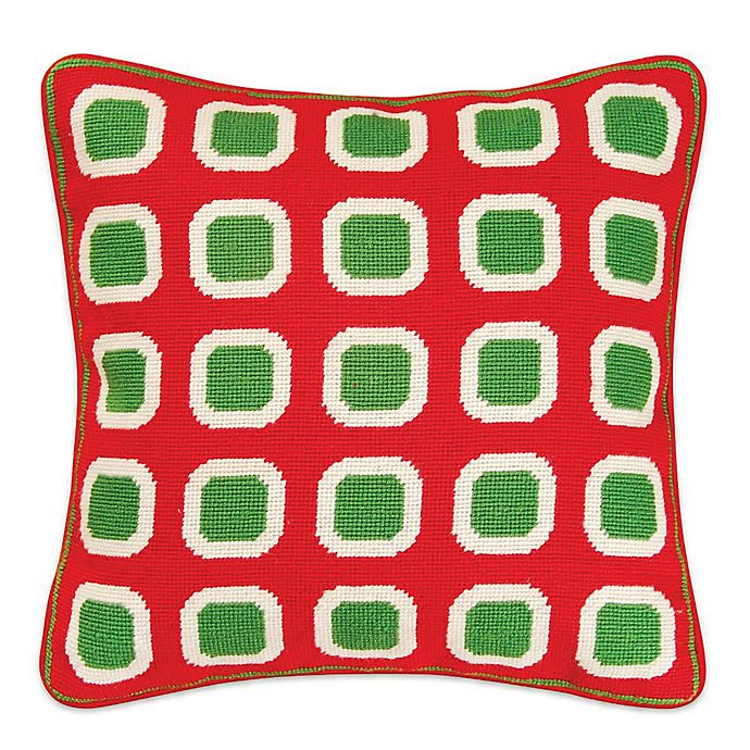 Hand Stitched Christmas Block Needlepoint Throw Pillow