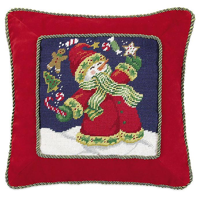 Alternate image 1 for Juggling Snowman Needlepoint Throw Pillow