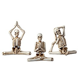 3-Piece Decorative Halloween Skeletons in Yoga Poses Set in White