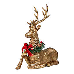 Decorative Sitting Christmas Reindeer in Gold