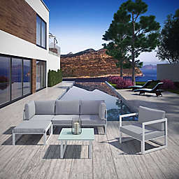 Modway Fortuna 6-Piece Patio Lounge Sectional Set in White/Grey