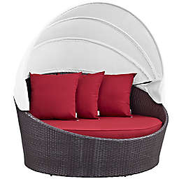 Modway Convene Rattan Weave Canopy Patio Daybed