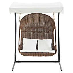 Modway Arbor Vantage Outdoor Patio Swing Chair in Brown/White