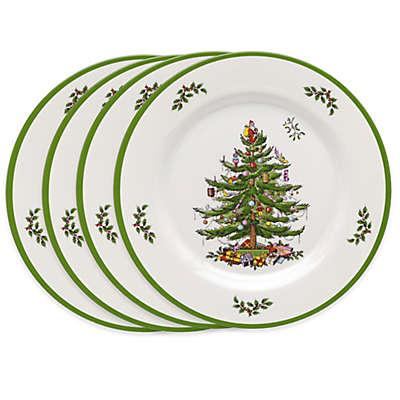 Spode Christmas Tree Melamine Dinner Plates Set
