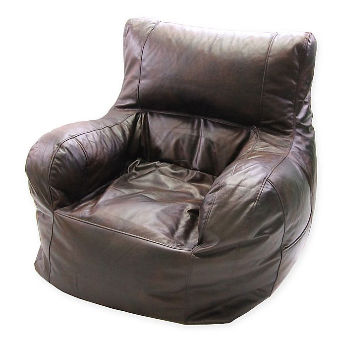Jumbo Faux Leather Arm Chair Bean Bag Chair in Brown | Bed ...