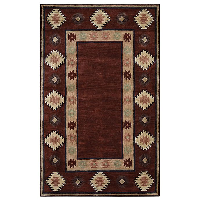 Alternate image 1 for Rizzy Home Southwest Border 3-Foot x 5-Foot Area Rug in Burgundy