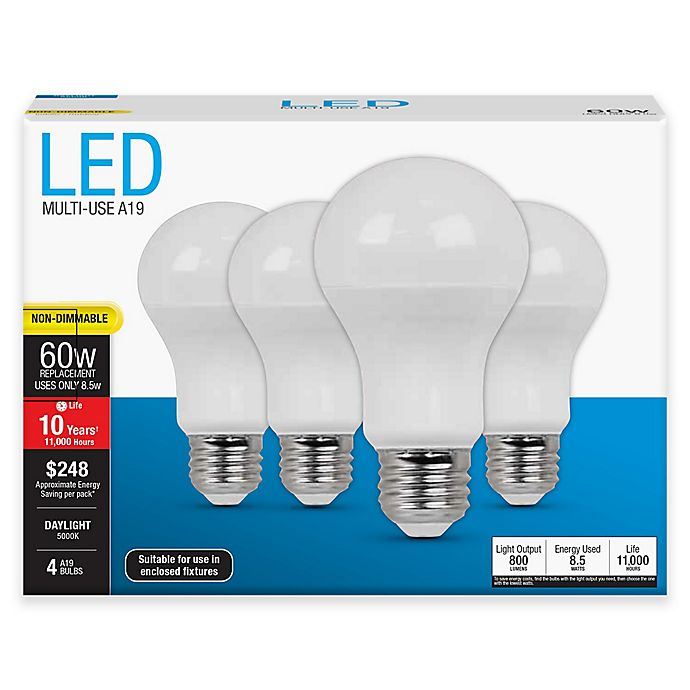 Alternate image 1 for Feit Electric 4-Pack 8.5-Watt A19 Medium-Base Non-Dimmable LED Bulbs