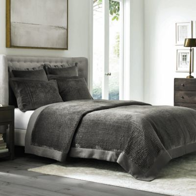 Wamsutta 174 Collection Velvet Coverlet In Grey Bed Bath