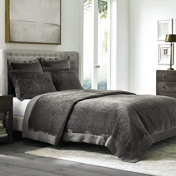 Alternate image 1 for Wamsutta® Collection Velvet Coverlet in Grey