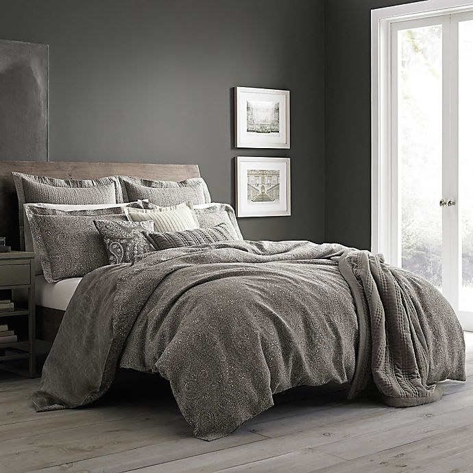 Wamsutta Vintage Paisley Linen Duvet Cover In Grey Bed Bath Beyond