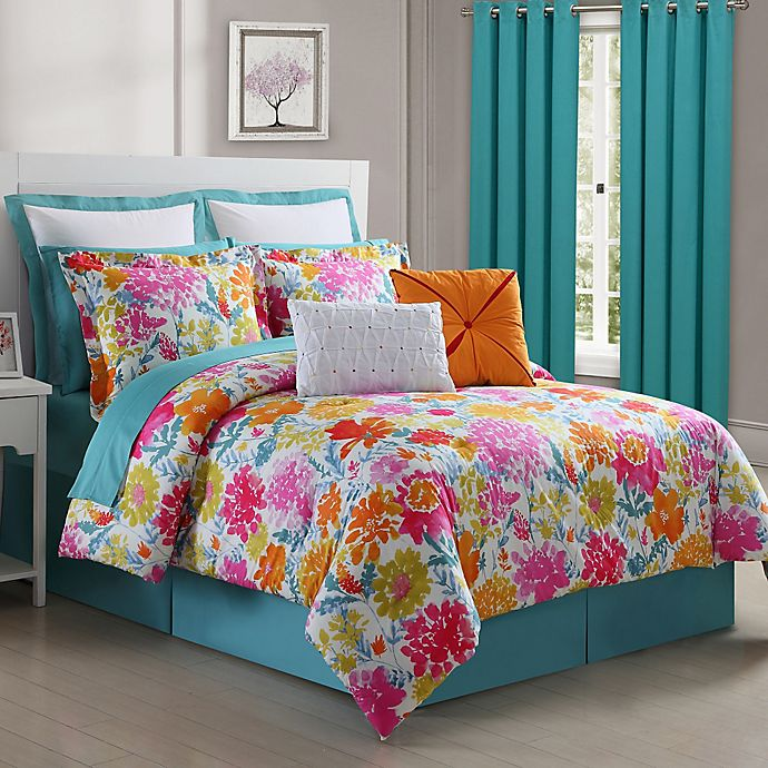 Alternate image 1 for Fiesta® Garden Reversible Comforter Set in Turquoise/Yellow
