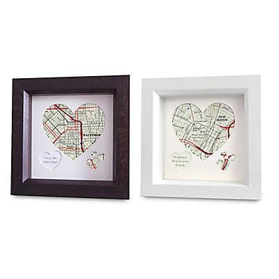 Map Marketing Heart Map Framed Wall Art