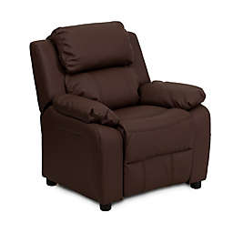 Flash Furniture Leather Kids Recliner with Storage Arms