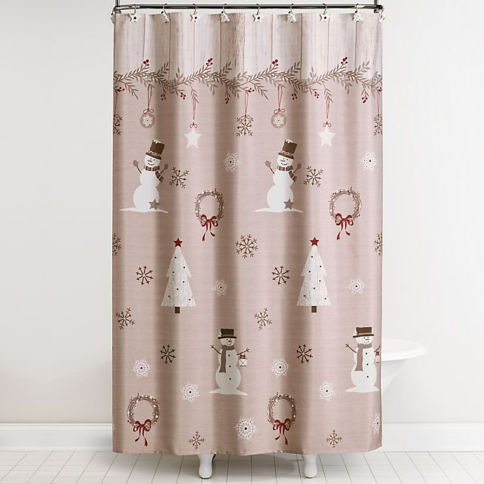 Rustic Christmas Shower Curtain And Hooks Set