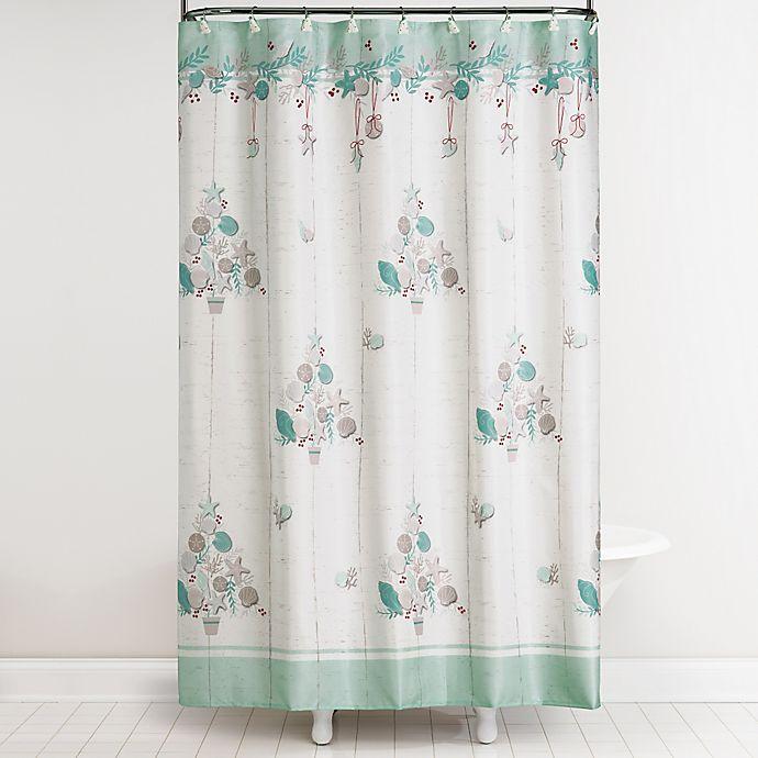 Coastal Christmas Shower Curtain And Hooks Set