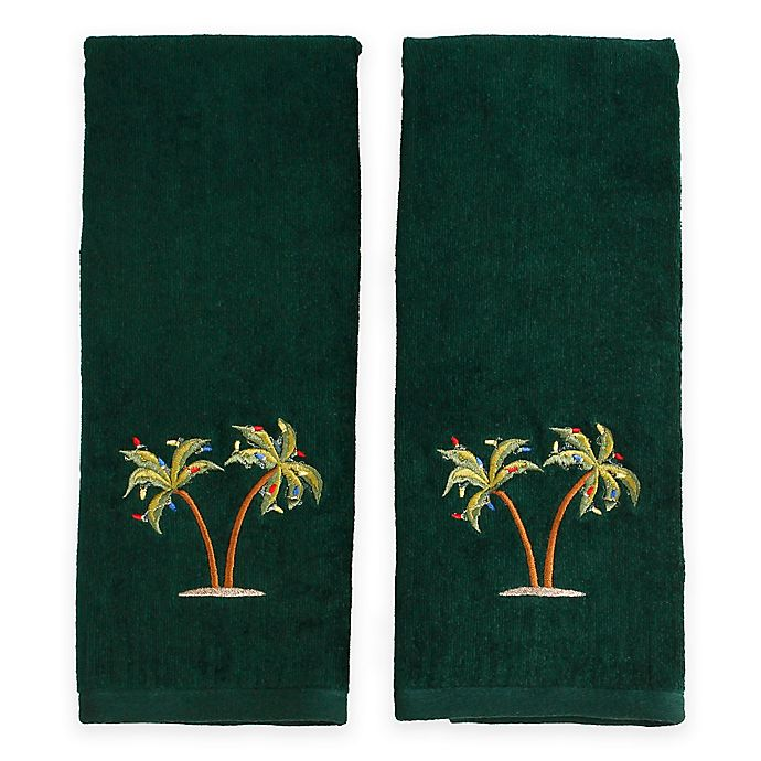 Coastal Palm Tree Hand Towels In Evergreen Set Of 2 Bed