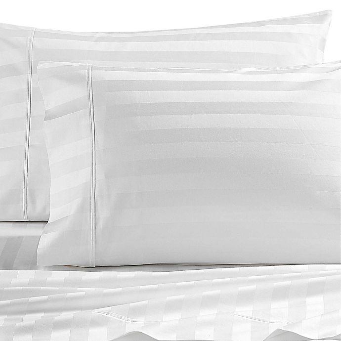 Alternate image 1 for Wamsutta® Dream Zone® PimaCott® Stripe 1000-Thread-Count King Pillowcase Set in White
