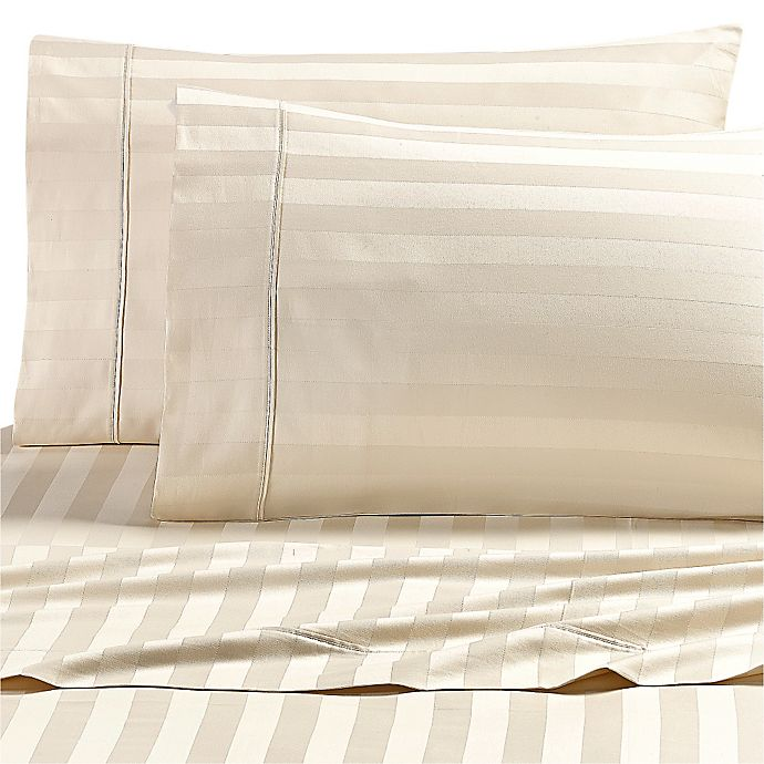 Alternate image 1 for Wamsutta® Dream Zone® Stripe 1000-Thread-Count PimaCott® Twin Sheet Set in Ivory