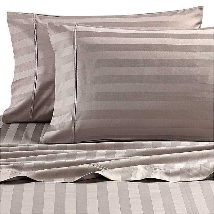 Alternate image 1 for Wamsutta® Dream Zone® Stripe PimaCott® Standard Pillowcases in Grey (Set of 2)