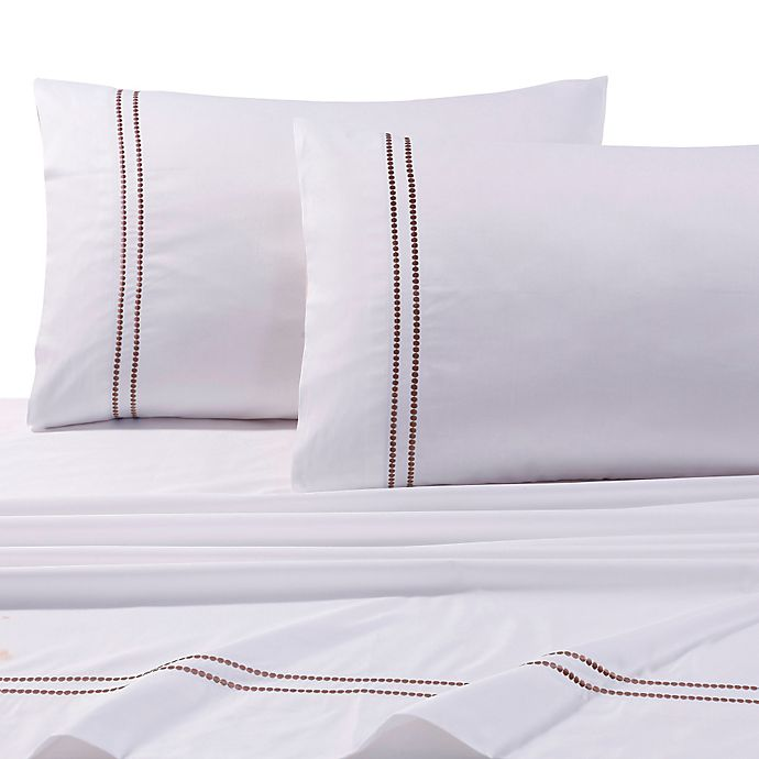 Alternate image 1 for Tribeca Living 400-Thread-Count Premium Cotton Dot King Pillowcases in Taupe (Set of 2)