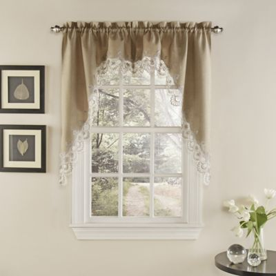 Palais Kitchen Window Curtain Swag Pair In Mocha Bed