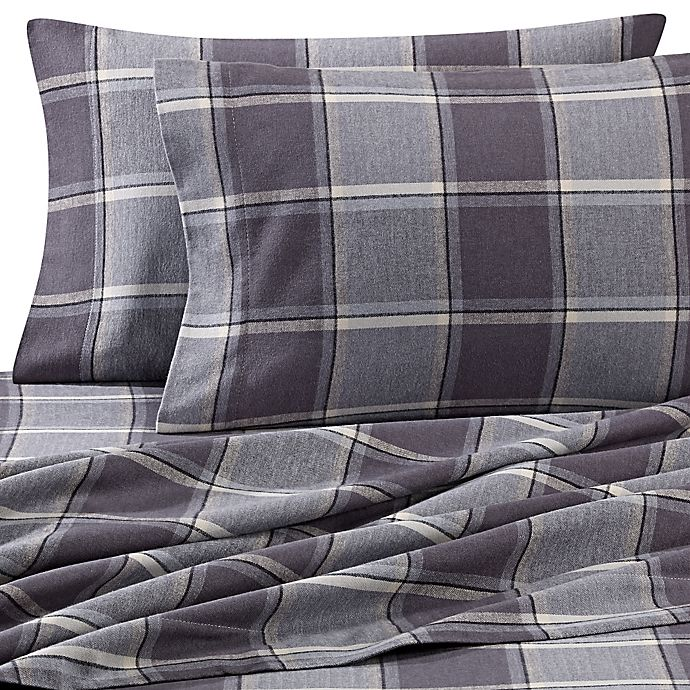 Alternate image 1 for Luxury Portuguese Flannel King Sheet Set in Smoke Plaid