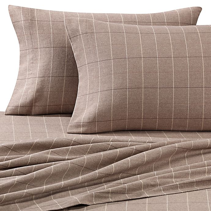 Alternate image 1 for Luxury Portuguese Flannel King Sheet Set in Brown Plaid