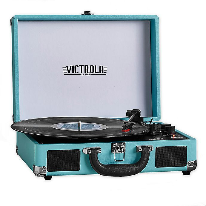 Alternate image 1 for Victrola™ 3-Speed Bluetooth® Portable Suitcase Record Player in Blue