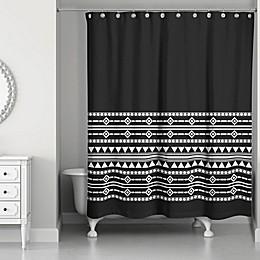 Boho Tribal Shower Curtain in Black/White