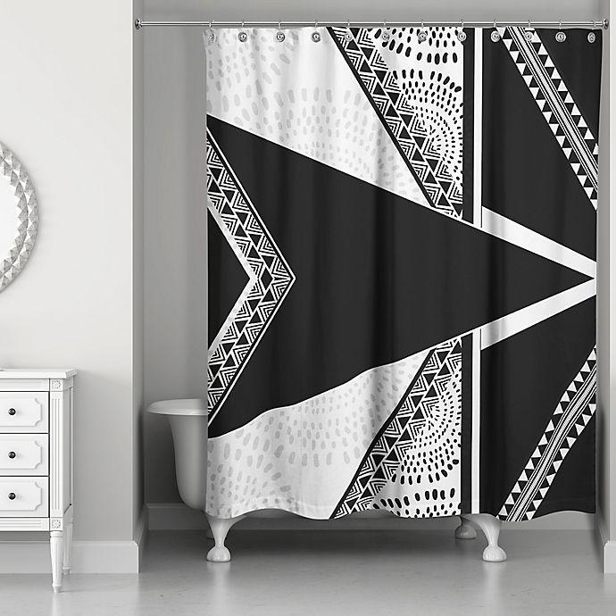 Alternate image 1 for Funky Boho Tribal Shower Curtain in Black/White
