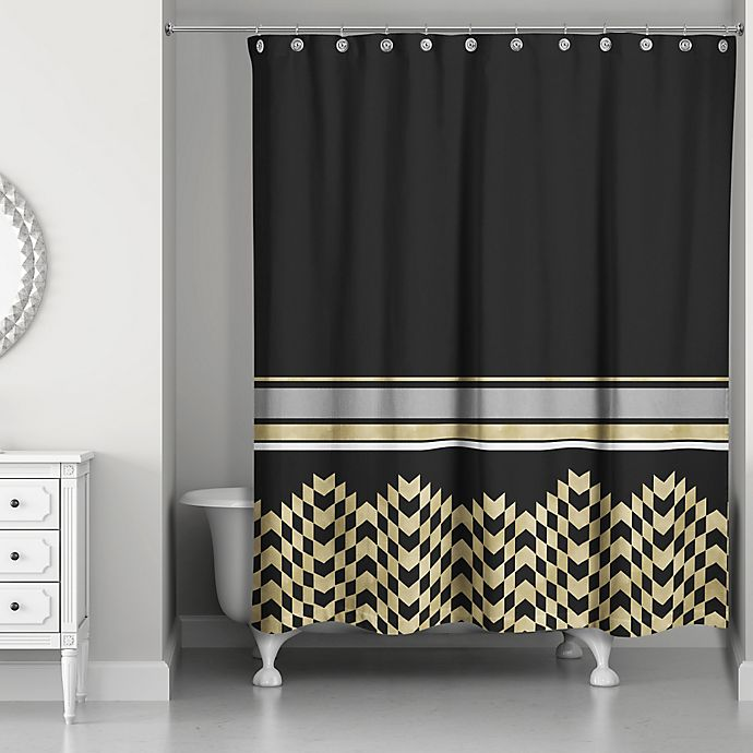 Alternate image 1 for Chic Weighted Shower Curtain in Black/Gold
