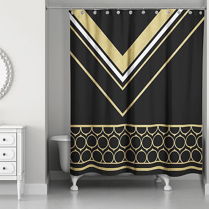 Alternate image 1 for Rings Chic Shower Curtain in Black/Gold