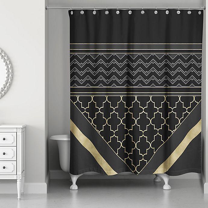 Alternate image 1 for Quatrefoil Chic Shower Curtain in Black/Gold