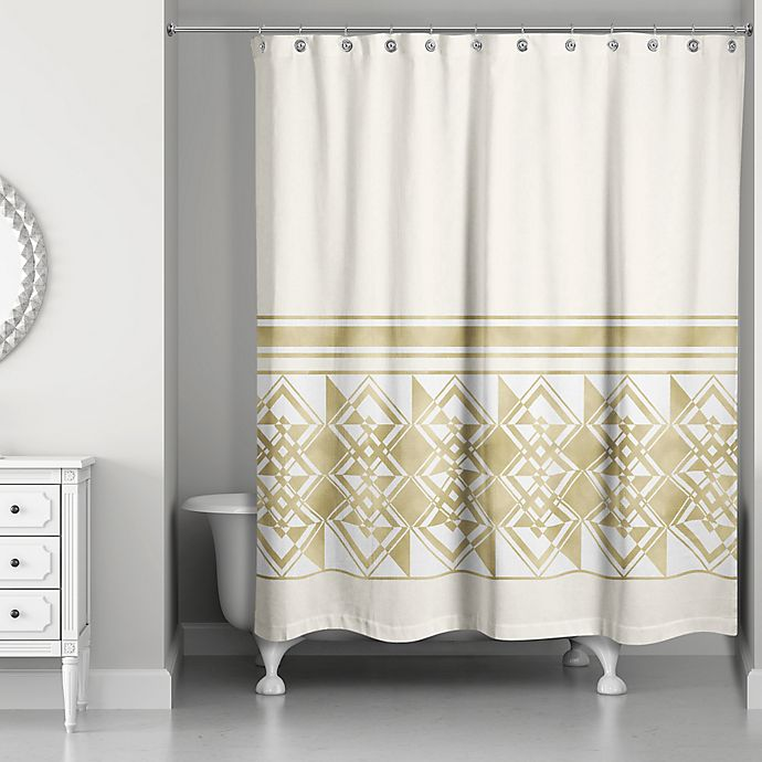 Alternate image 1 for Decorative Weighted Shower Curtain in Ivory/Gold