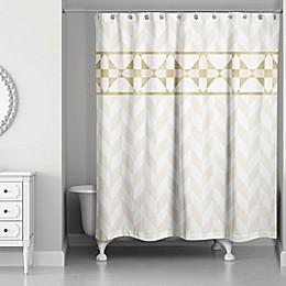 Decorative Stripe Shower Curtain in Gold/Creme